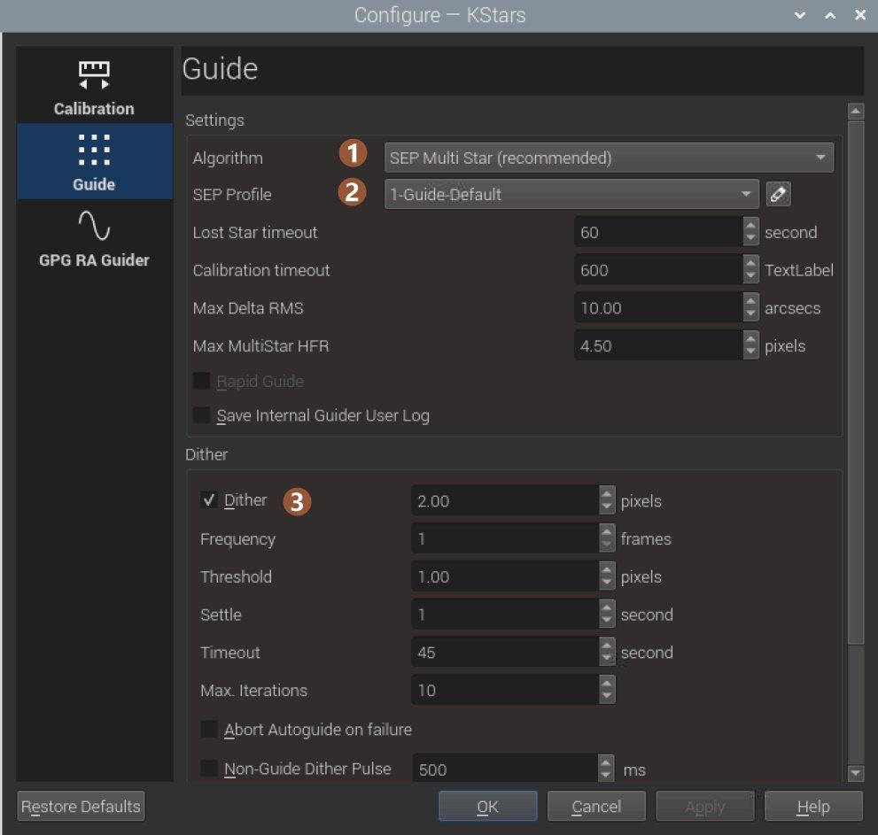 ekos internal guider guide